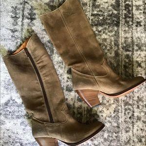 Frye women's leather beige mid calf boots sz 7M